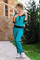 """Стильный женский брючный трикотажный костюм до больших размеров """" Lacoste"""", фото 1"""