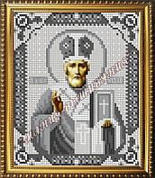 Схема для вышивания бисером Икона Святого Николая Чудотворца (серебро)