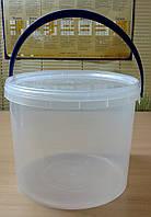 Ведро пластиковое с крышкой прозрачное 1 литр