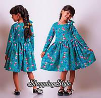 Детское платье Бирюза с цветочками и бантиком