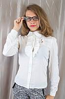 Классическая белая школьная блуза с рюшами, р. 134,140,146,152.