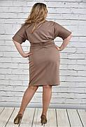 Женское однотонное бежевое платье на осень 0325 цвет бежевый до 74 размера / большие размеры, фото 4
