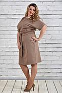 Женское однотонное бежевое платье на осень 0325 цвет бежевый до 74 размера / большие размеры, фото 2