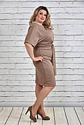 Женское однотонное бежевое платье на осень 0325 цвет бежевый до 74 размера / большие размеры, фото 3