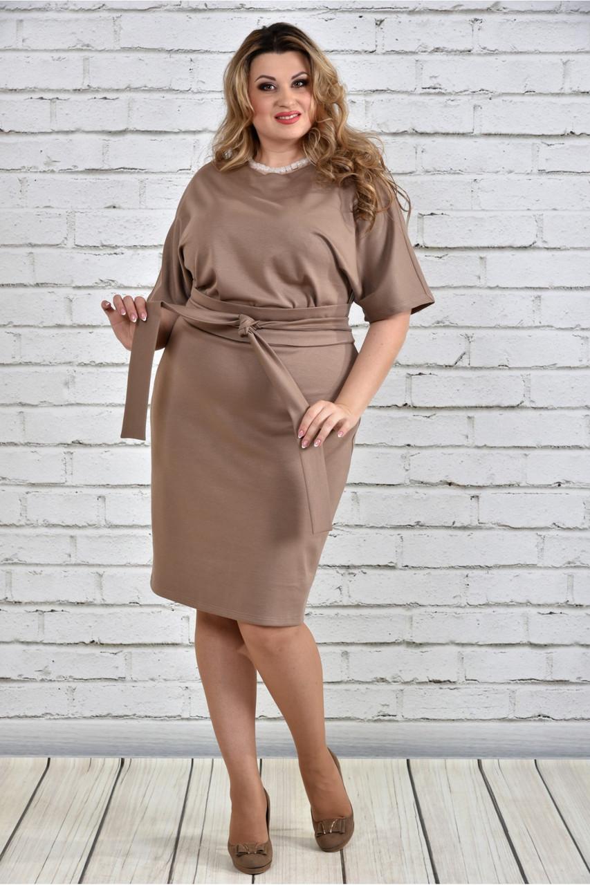 Женское однотонное бежевое платье на осень 0325 цвет бежевый до 74 размера / большие размеры