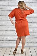 Женское однотонное оранжевое платье на осень 0325 цвет бежевый до 74 размера / большие размеры, фото 4