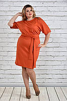 Женское однотонное оранжевое платье на осень 0325 цвет бежевый до 74 размера / большие размеры