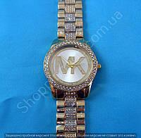 Часы Michael Kors MK-1101 (114264) женские золотистые на металлическом браслете в стразах диаметр 40 мм