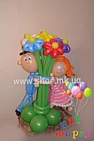 Букет влюбленных из воздушных шаров