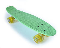Пенни Борд «Мятный» 22″ Желтые Светящиеся Колеса Резина / пенниборд скейт (penny board), скейтборд