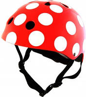 Шлем детский Kiddi Moto размер S 48-53см, красный в белый горошек (HEL-83-24)