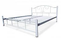 Кровать металлическая Медея двуспальная 1800х1900/200, Белый (глянец, матовый), белый снег