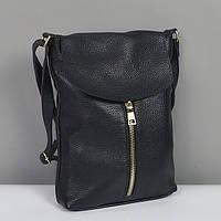 Черная сумка-планшет женская кожаная №021