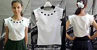 Рубашка-блуза для девочки с дековативными черными стразами