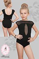 Купальник для танцев и гимнастики с отделкой из стрейч-сетки