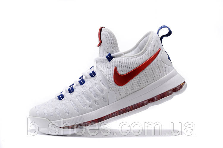 Мужские баскетбольные кроссовки Nike KD 9  (White/University Red-Racer/Blue)