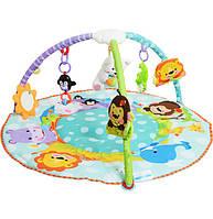 Развивающий  спортивный коврик с дугами для малышей 7182, диаметр 100см, музыка, упаковка 70х53х8 см