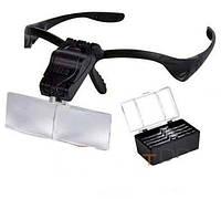 Лупа очки бинокулярная с LED подсветкой, 1,0х1,5х2,0х2,5х3,5 кратн. увеличение