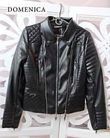 Кожаная женская куртка в черном цвете (в разных размерах) w-3101102