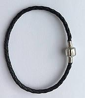 Кожаный браслет с серебряной застёжкой, фото 1