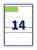 Бумага самоклеющаяся формата А4. Этикеток на листе А4: 14 шт. Размер: 99,1х38,1 мм. От 115 грн/упаковка*