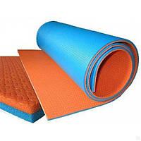 Двухцветный, двухслойный коврик для спорта и отдыха.
