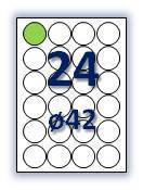 Этикеток на листе А4: 24 шт. круглых этикеток (кружков). Размер (диаметр): 42 мм.