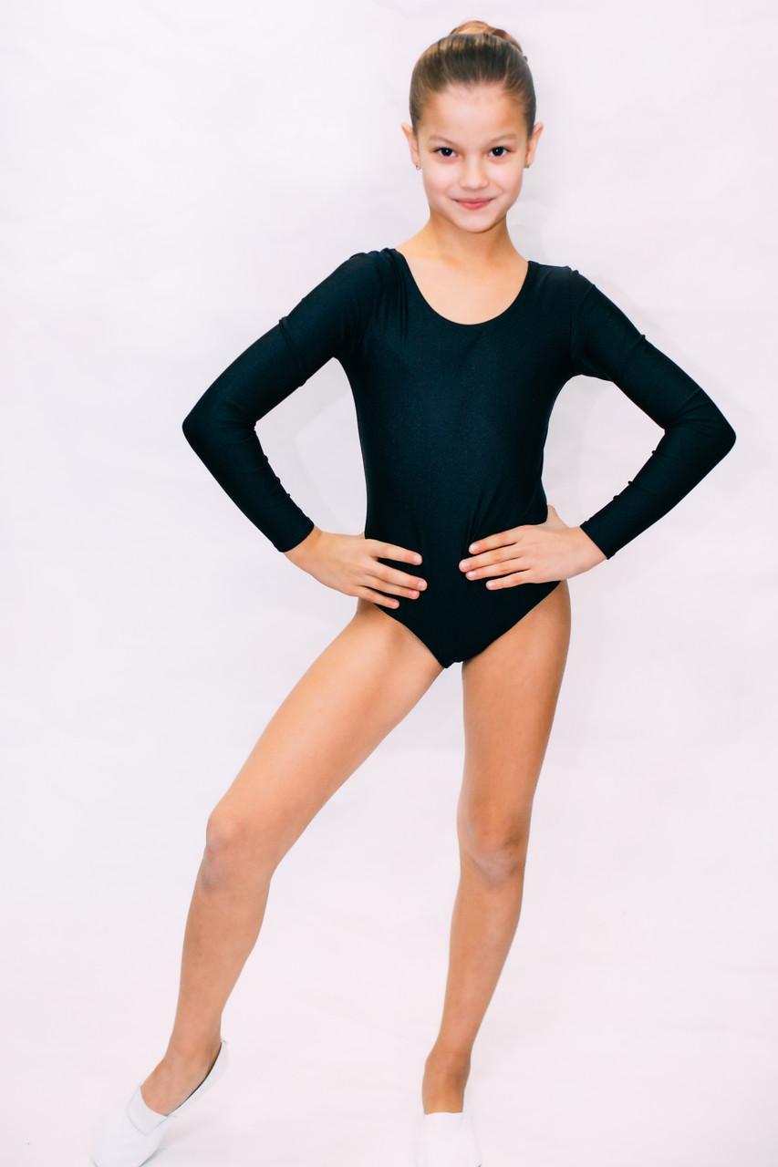 Трико купальник для танцев,гимнастики,хореографии черное
