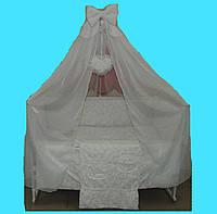 """Постельный набор в детскую кроватку """"Жаккард"""" чемоданчик белый  9эл."""