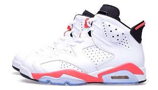Кроссовки мужские в стиле Nike Air Jordan 6 White/Infrared