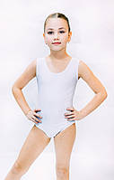Детское трико купальник  без рукава белое