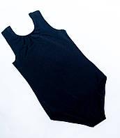 Детское трико купальник без рукава черное
