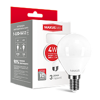 Лампа светодиодная G45 Maxus  LED-5412 4W 4100K 220V E14