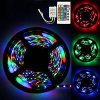 Светодиодная лента многоцветная комплект RGB 5050 5 метров, LED лента 5050 RGB комплект
