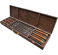 """Подарочный набор шампуров """"Удачная охота"""" в кейсе темно-коричневый мрамор, 6 шт, фото 1"""