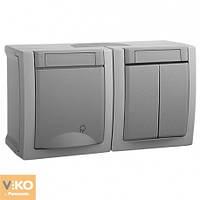 Комбинация розетки с заземлением и выключателя 2-кл.ViKO Pacific
