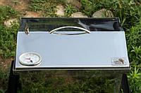 """Коптильня из нержавейки с термометром (400х300х310) крышка """"Домик"""""""