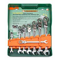 Набор ключей комбинированных трещоточных с карданом 8, 10, 12, 13, 14, 15, 17, 19мм, 8 предметов