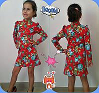 Детскре красивое платье с закрытым горлом красное