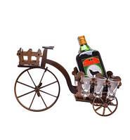 """Деревянная подставка под бутылку """"Велосипед"""" с рюмками в наборе"""