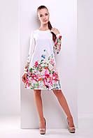 Женское белое платье с цветочным принтом из французского трикотажа, фото 1