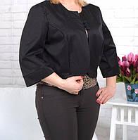 Пиджак-болеро женский коттоновый черный