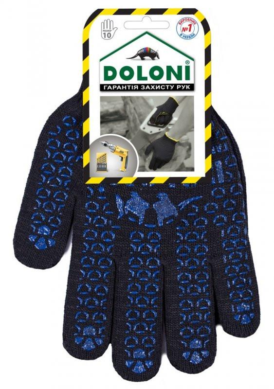 Перчатки DOLONI Черн. с синей Точкой ПВХ (667)