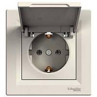 Розетка с змл. крышкой кремовый Asfora EPH3100123 Schneider Electric