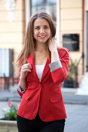 Пиджак удлиненный на одну пуговицу, рукав с отворотом, фото 2