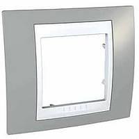 Рамка Unica MGU6.002.865 1М серый/ бел. Schneider Electric Plus Хамелеон