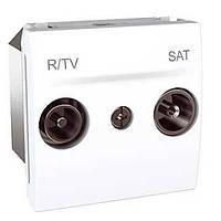 Розетка Радио ТВ/Спутник Индивид 2М бел, Unica MGU3.454.18 R TV/SAT Schneider Electric