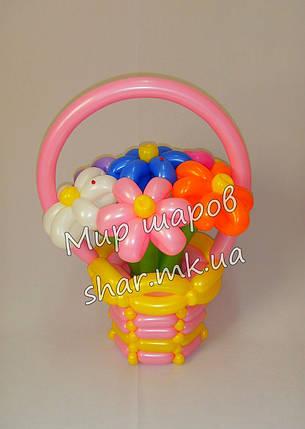 7 ромашек в корзине из воздушных шаров , фото 2