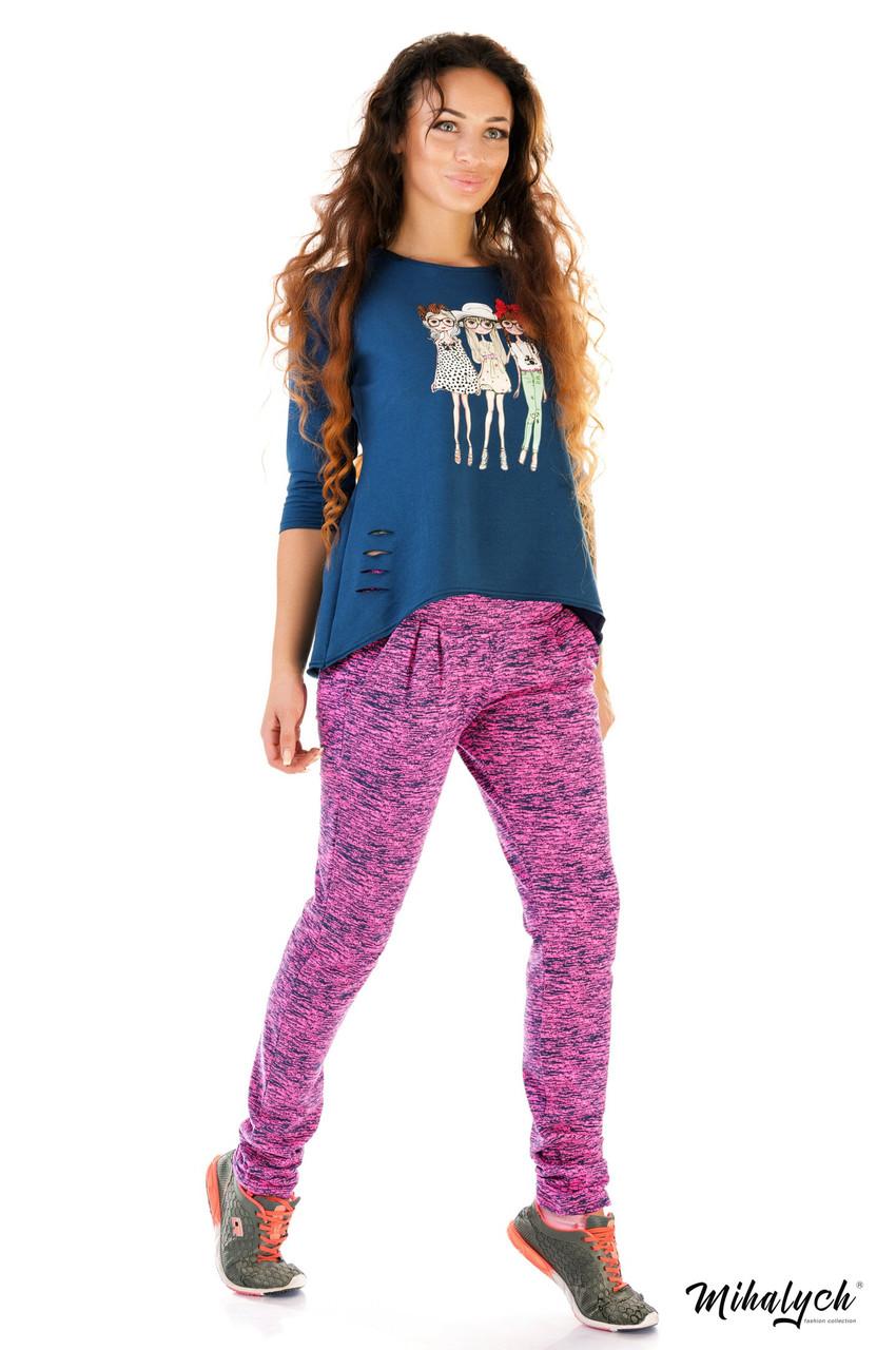 Спортивный костюм женский трикотажный меланжевые штаны и синий батник