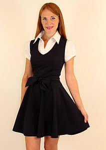 Модный школьный сарафан для старшеклассниц 42-48 р ( синий, черный )